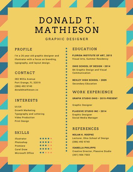 colorful triangles graphic designer creative resume