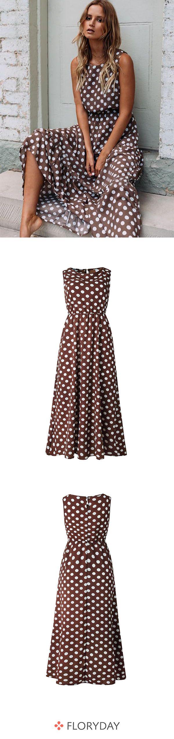Gepunktetes ärmelloses X-Linien Maxikleid  Kleider mode, Modische