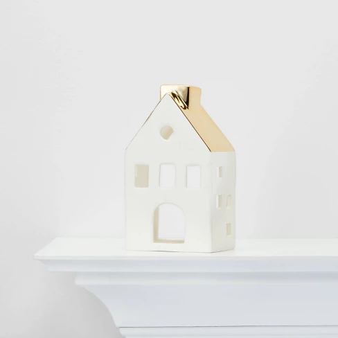 Large Ceramic House With Gold Roof