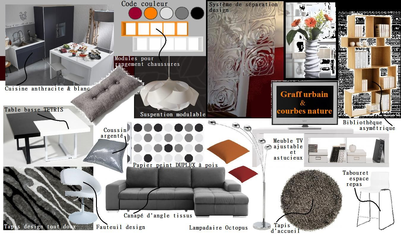 Planche de style pi ce de vie contemporain chic wellk for Interieur contemporain