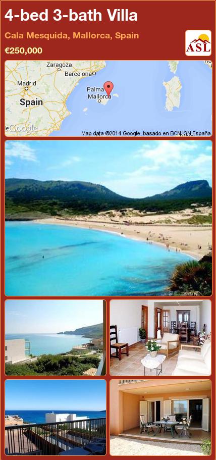 4-bed 3-bath Villa in Cala Mesquida, Mallorca, Spain ►€250,000 #PropertyForSaleInSpain