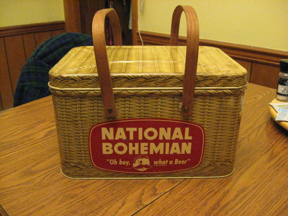 National Bohemian Beer - Metal Picnic Basket - 1950's - Mr. Boh - The real deal!  | eBay