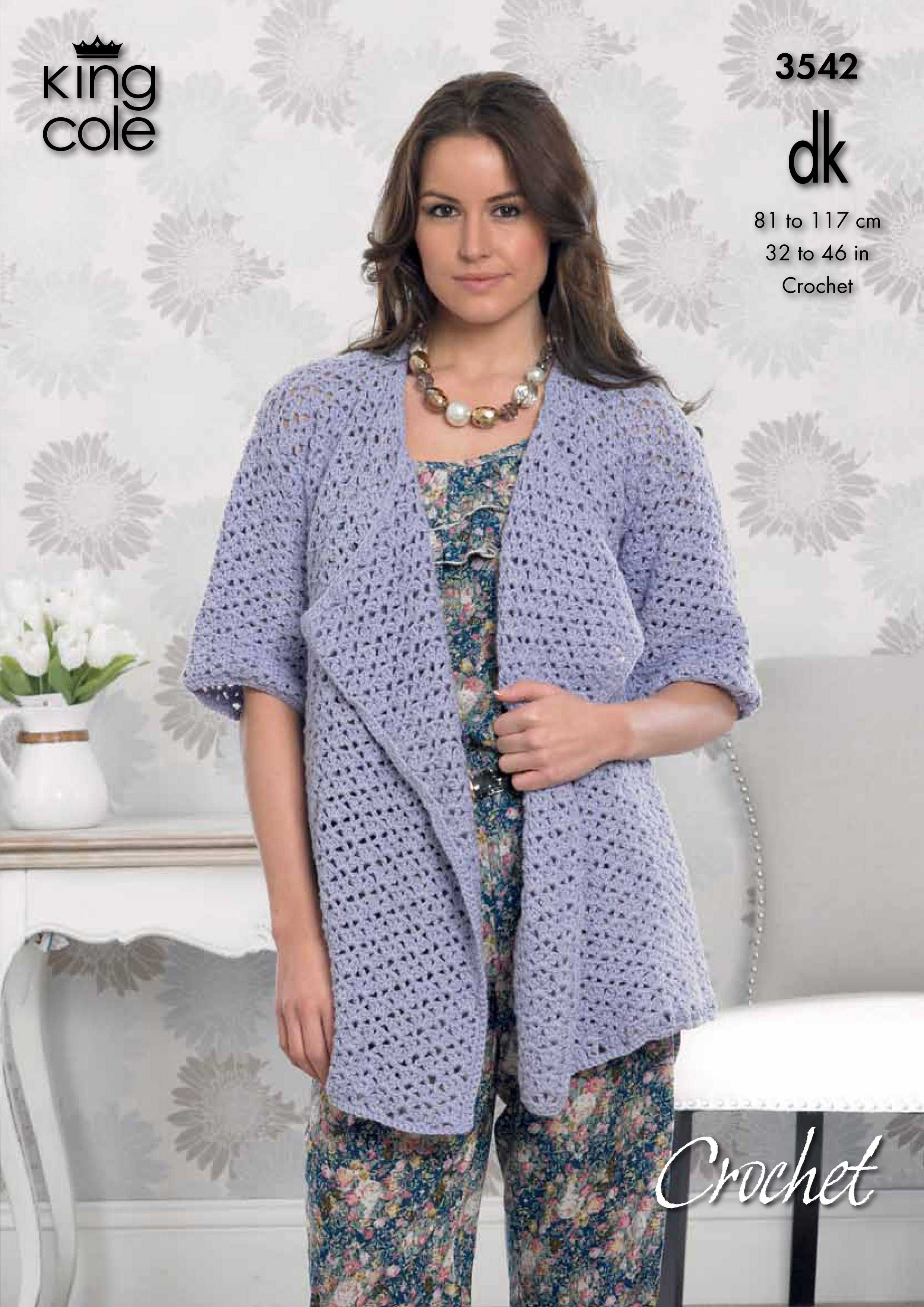 Crochet waterfall Cardigan mid sleeved - King Cole | Crochet ...