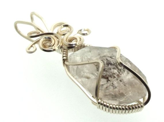 Herkimer Diamond Wire Wrapped Crystal Gem Pendant 24