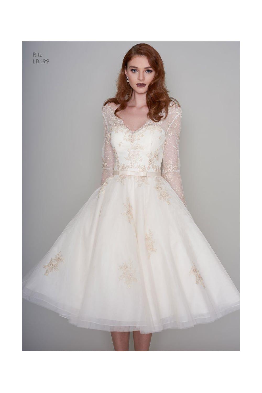 Rita Tea Length Vintage Inspired Short Gold Wedding Dress With Sleeves: Short Gold Lace Wedding Dresses At Reisefeber.org