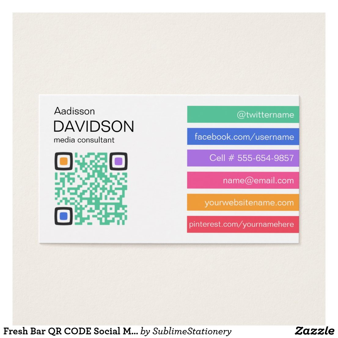 Fresh Bar QR CODE Social Media Business Card | CARDS: BUSINESS CARDS ...