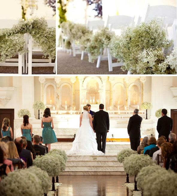 Altar Wedding Dresses: Baby's Breath Aisle And Altar Decor. We Can Incorporate It