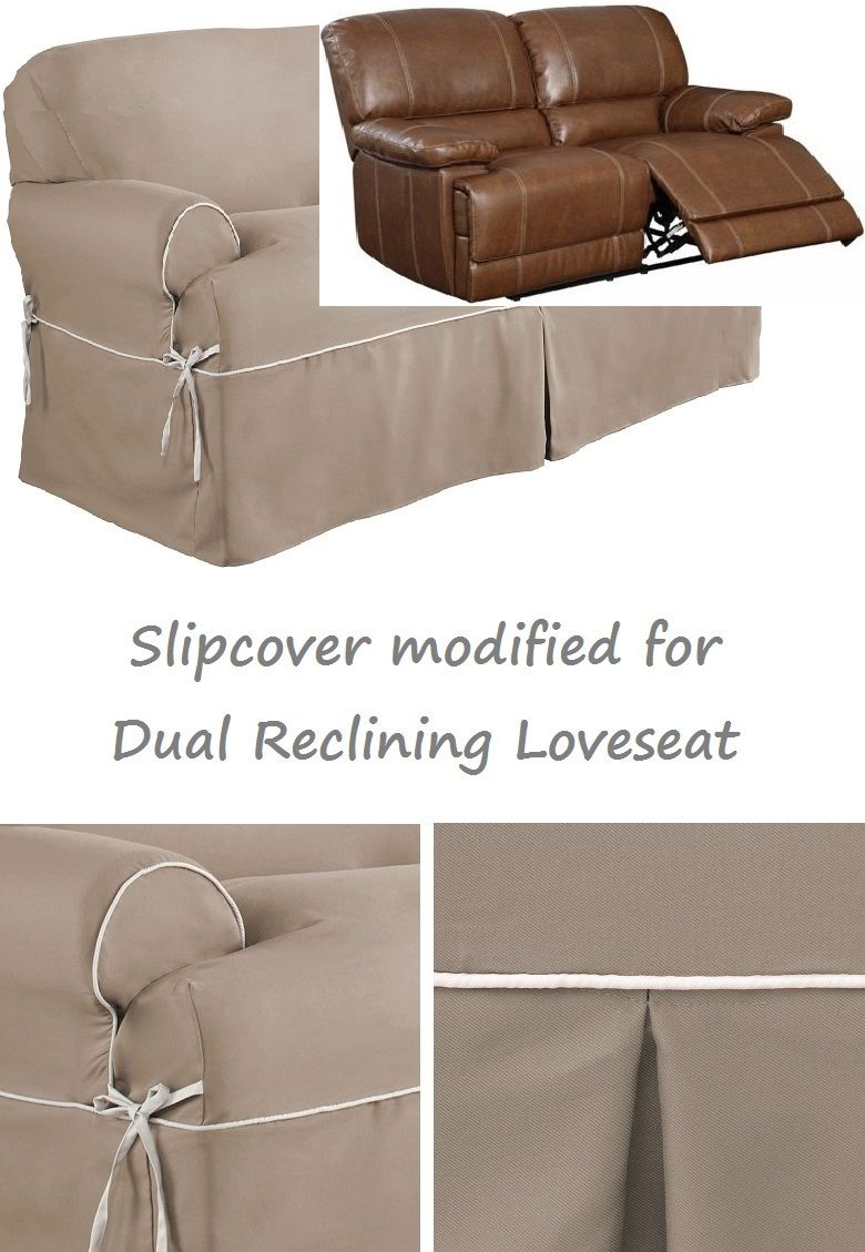 Dual Reclining Loveseat Slipcover T Cushion Twill Contrast Taupe Cover Dual Reclining Loveseat Reclining Sofa Loveseat Covers