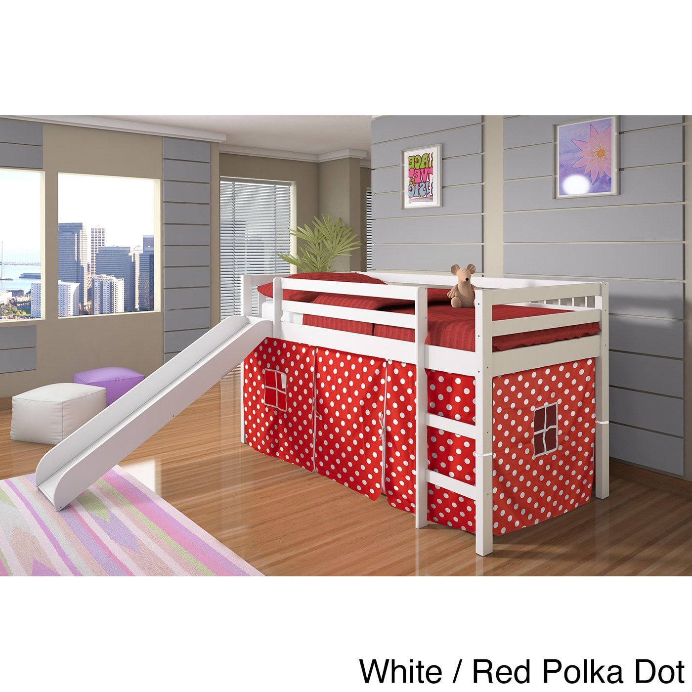Loft bed with slide and tent  Donco Kids Twinsize Tent Loft Bed with Slide  Girlus Bedrooms