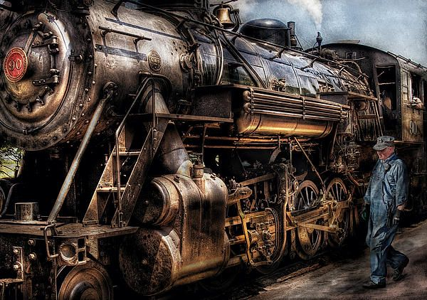 Train Engine Now Boarding By Mike Savad Train Art Train Engines Train
