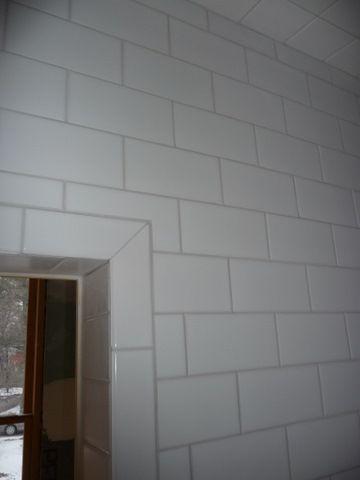 subway tile installation and bathroom