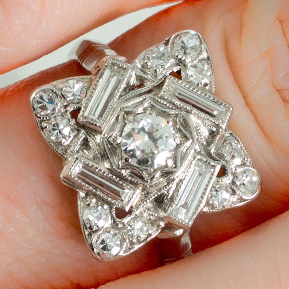 An Original Art Deco Diamond And Platinum Plaque Ring