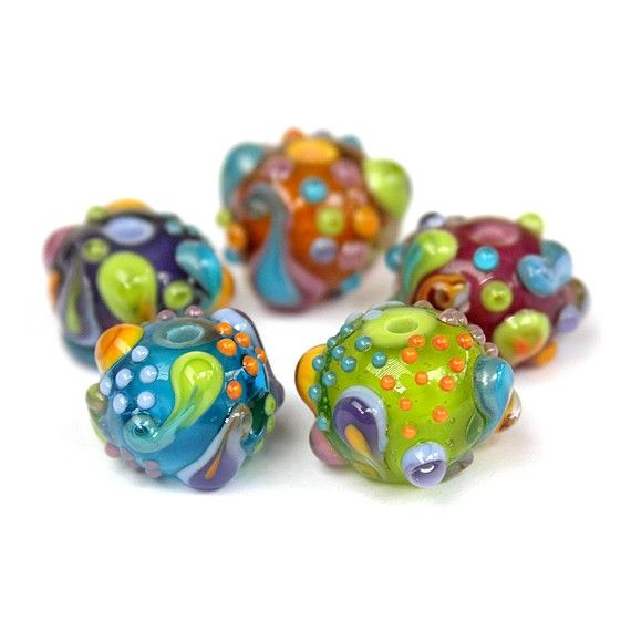 Paisleys  Lampwork Glass Bead Set 5 by sarahhornik on Etsy