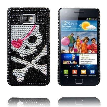 Paris Star (Hopeinen Pääkallo) Samsung Galaxy S2 BlingBling Suojakuori