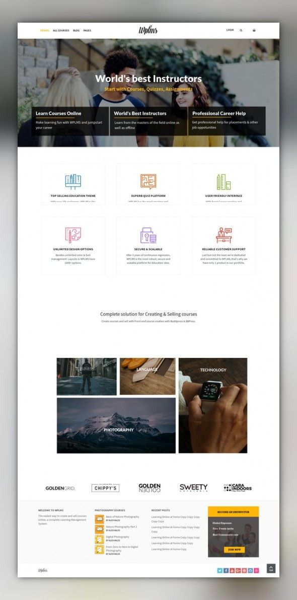 Wplms Learning Management System For Wordpress Education Theme Learning Management System Web Inspiration Web Design