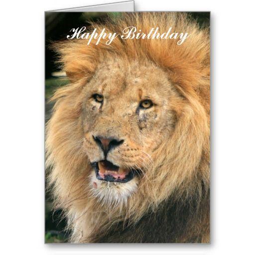 Order Lion Head Male Beautiful Photo Happy Birthday Card Lion Head