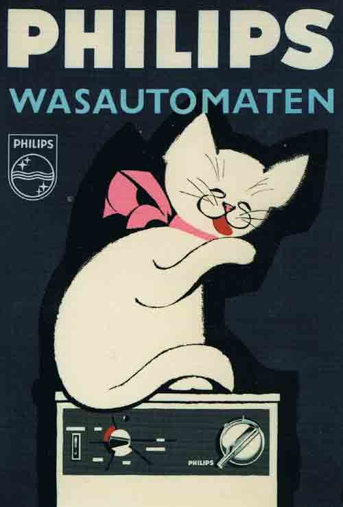 Cats in Art and Illustration: Philips Washing Machines advertising poster at the Philips Museum, Eindhoven, the Netherlands/ Holland.