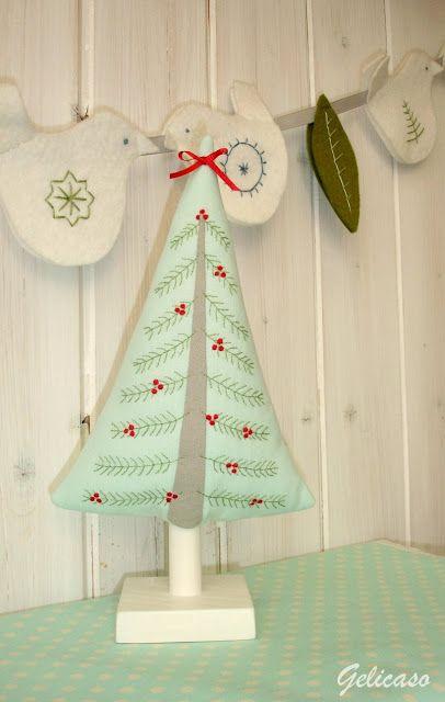 Gelicaso Un Poco Mas Al Norte Scandinavian Tree Proyectos De Costura De Navidad Bordado De Navidad Adornos De Navidad