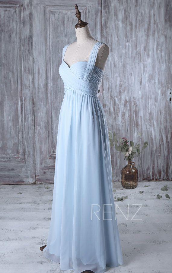 Light Blue Bridesmaid Dress Long, Sweetheart Wedding Dress Two ...