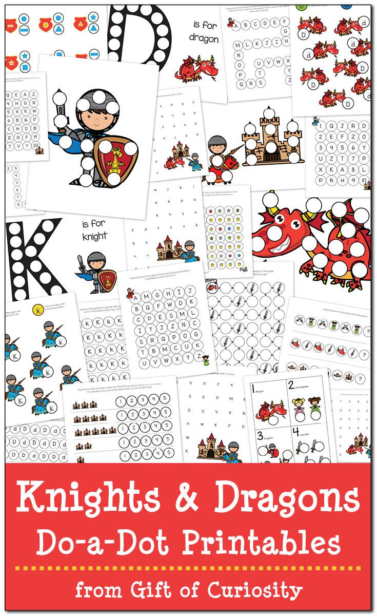 Free coloring pages knights and dragons - Knights And Dragons Do A Dot Printables Free