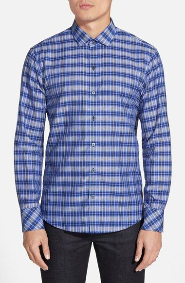 Men's Zachary Prell 'Lancer' Regular Fit Plaid Cotton & Linen Sport Shirt