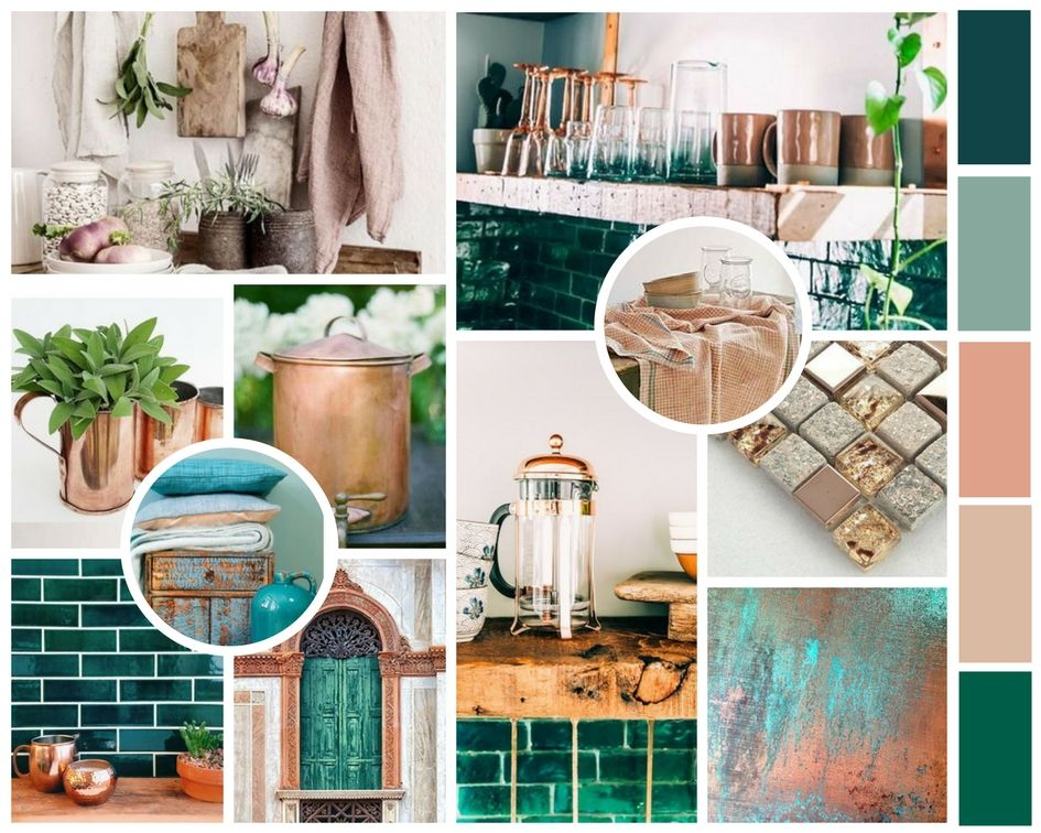 Kitchen Mood Board Copper Rose Gold Teal Green Dusty Pink Copper Living Room Gold Bedroom Decor Green Living Room Decor #pink #and #teal #living #room
