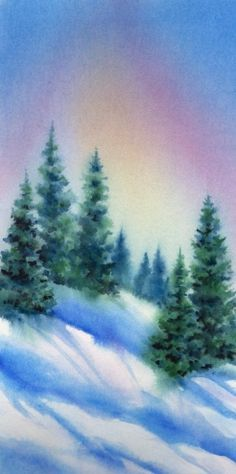 TREE LINE Watercolor Winter Landscape Painting By Artist Barbara Fox Beautiful