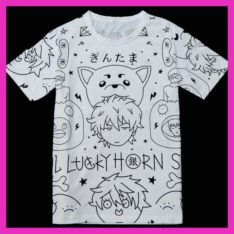 Gintama Sakata Gintoki Cosplay t-shirt Hot !!