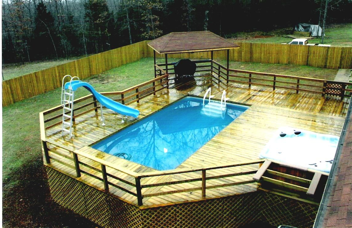 Swiming Pools Funky Above Ground Pool Deck Ideas With Simple Portable Pools With Hand Rails Also Pool Spa Swimming Pool Decks Pool Deck Plans Rectangular Pool