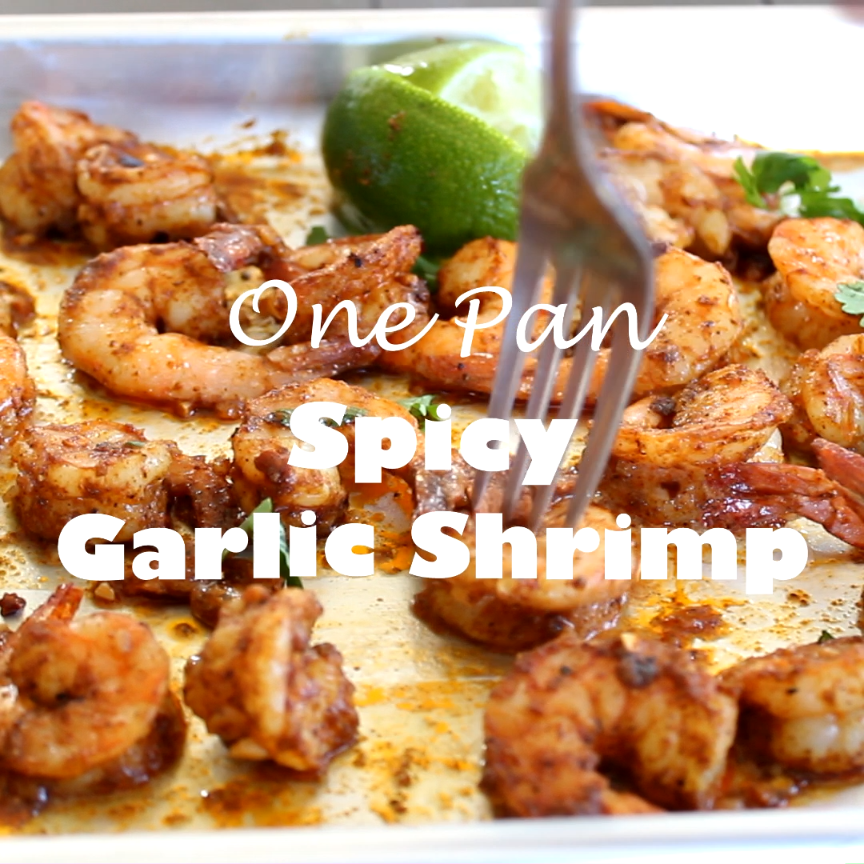 One Pan Spicy Garlic Shrimp - dinner is ready in 15 minutes, with this super flavorful, a little spicy, garlic shrimp recipe. #shrimp #video #easydinner #onepan #spicy #food #foodblogger #garlicshrimprecipes