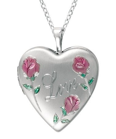 Take a look at this Silver Flower 'Love' Heart Locket Necklace by World Trade Jewelers on #zulily today!