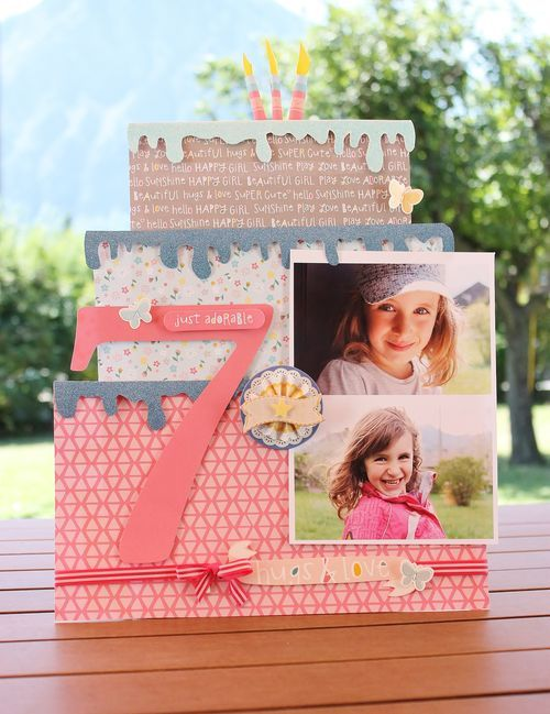 BIRTHDAY CAKE #layout by Sophie Crespy for @americancrafts #scrapbook #papercrafts
