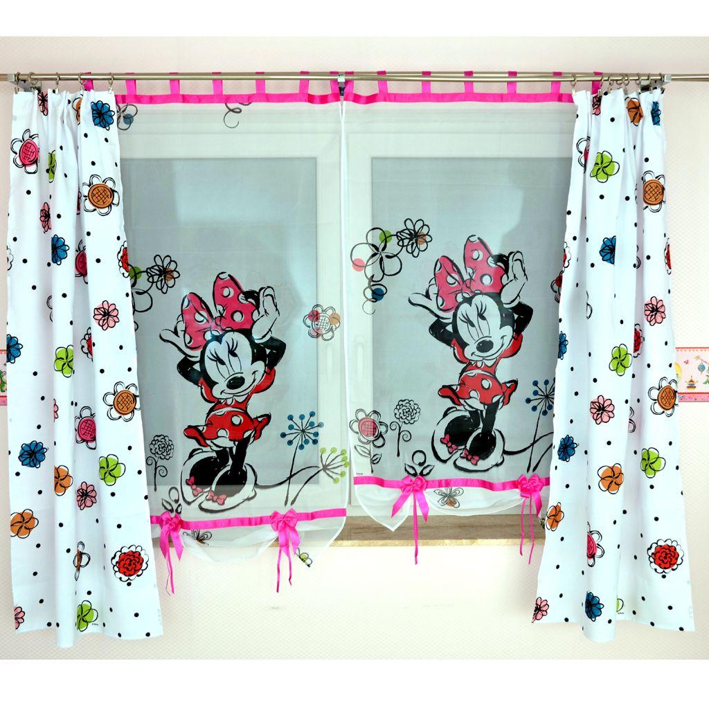 Kindergardine MINNIE MOUSE & Blumenvorhang ; Gardine für