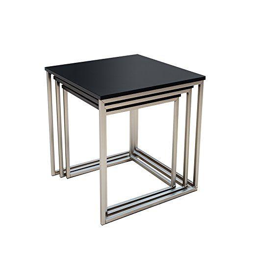Design Beistelltisch 3er Set FUSION Matt Schwarz Edelstahl Gebürstet  Couchtisch Satztische Tischset