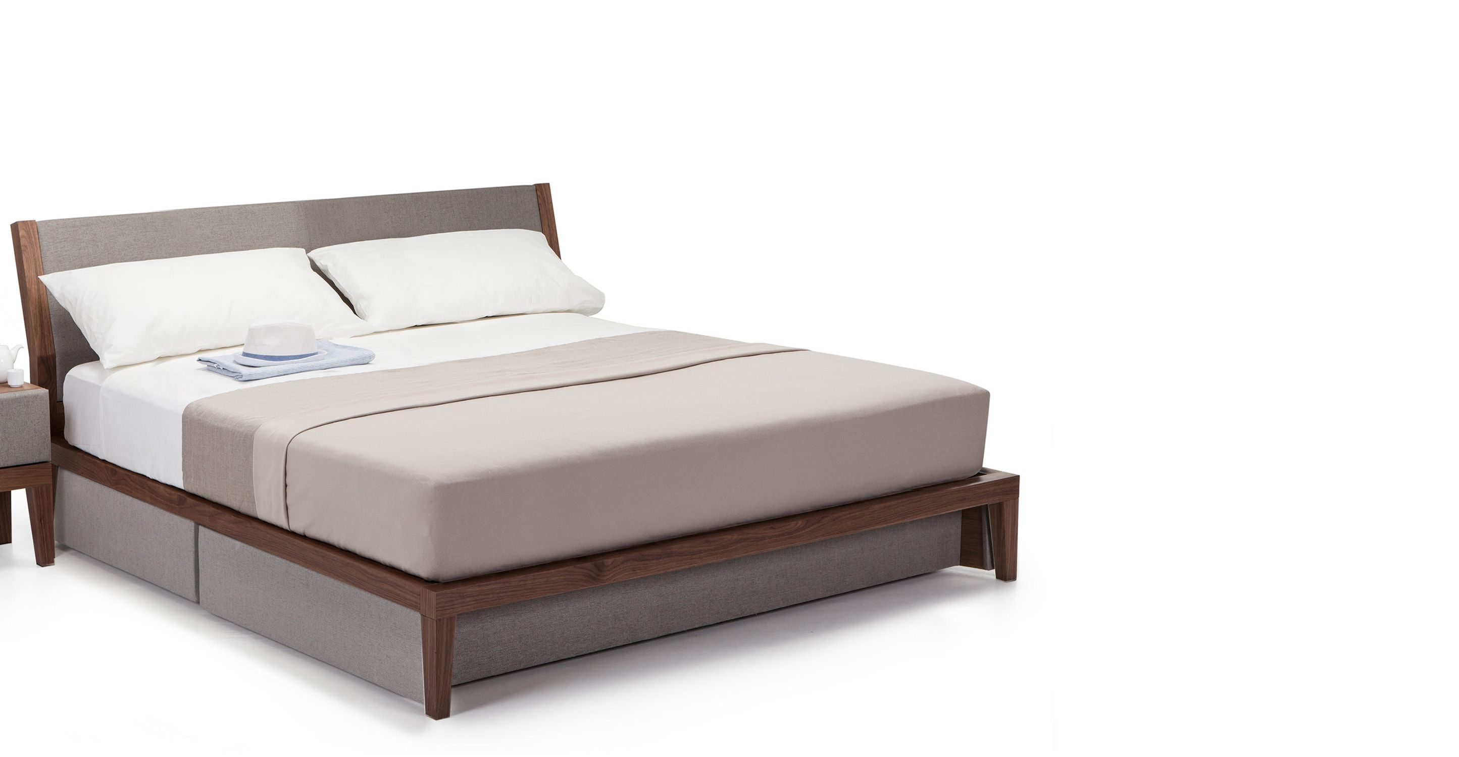 lansdowne kingsize bed with storage walnut and heron grey