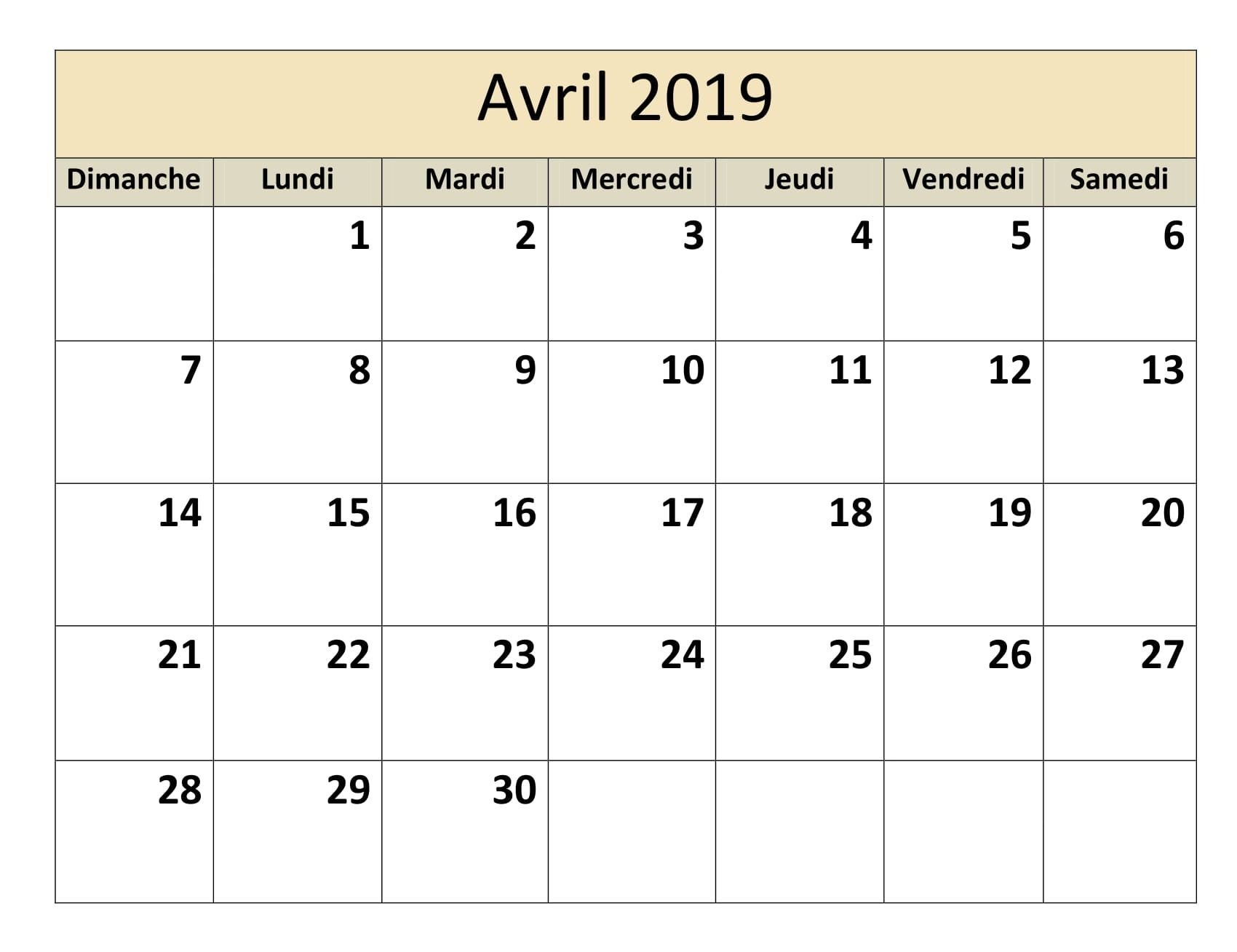 Blank School Calendar November 2017-February 2019 Calendrier Avril 2019 | Calendrier Avril 2019 À Imprimer | June