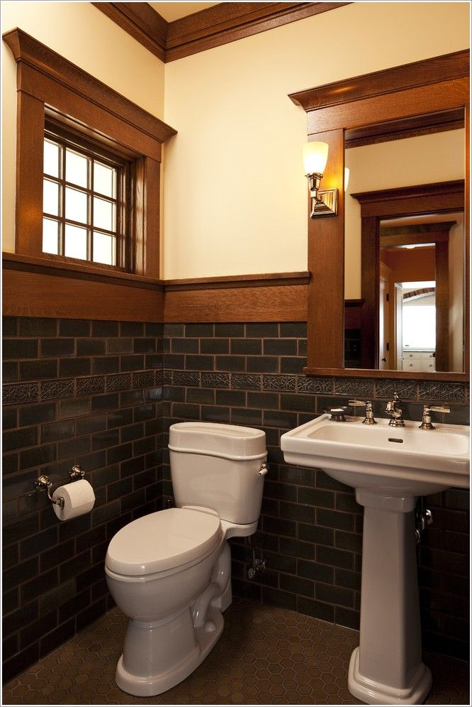 Wood framed arched mirror tile tile accents tile floor - Arts and crafts style bathroom design ...