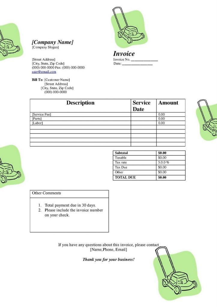 Free Lawn Service Invoice Template Resume Templates Lawn Care - Lawn service invoice template free