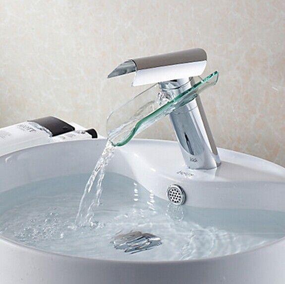 Moderne design en verre bec cascade lavabo robinet F0814 | salle de ...