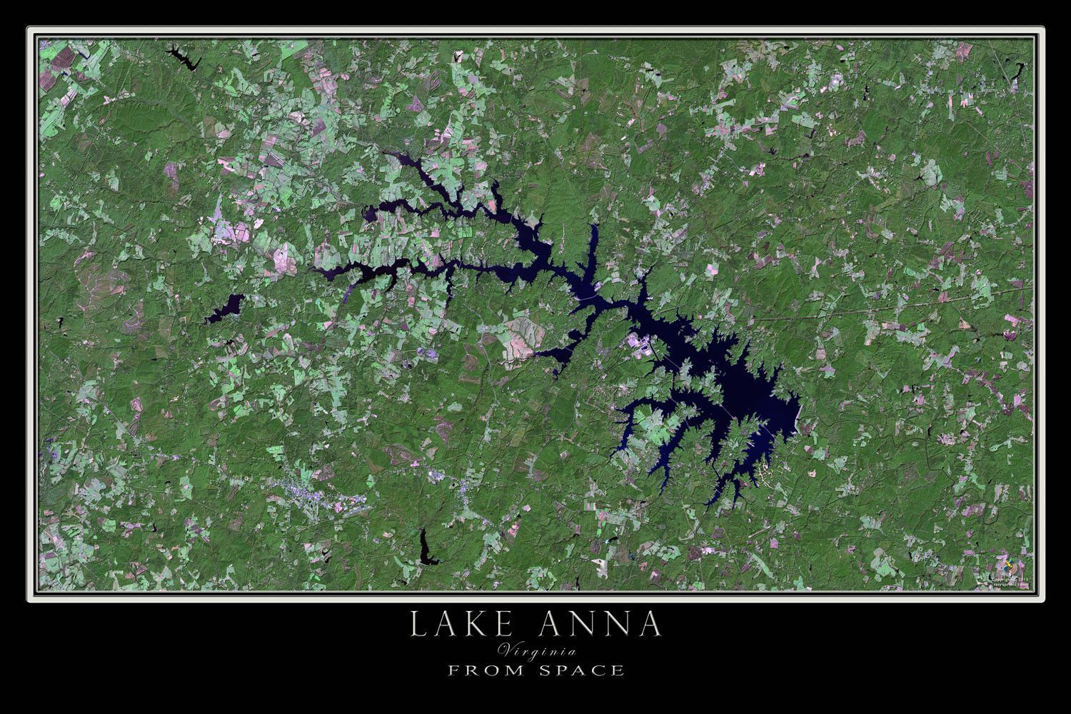 The Lake Anna Virginia Satellite Poster Map Map Poster Aerial