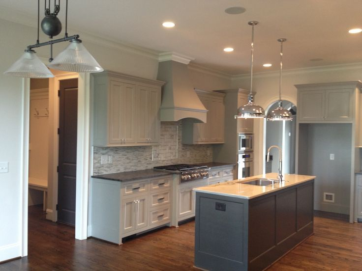 Sherwin Williams Dorian Gray Cabinets. Urbane Bronze Islands. White .