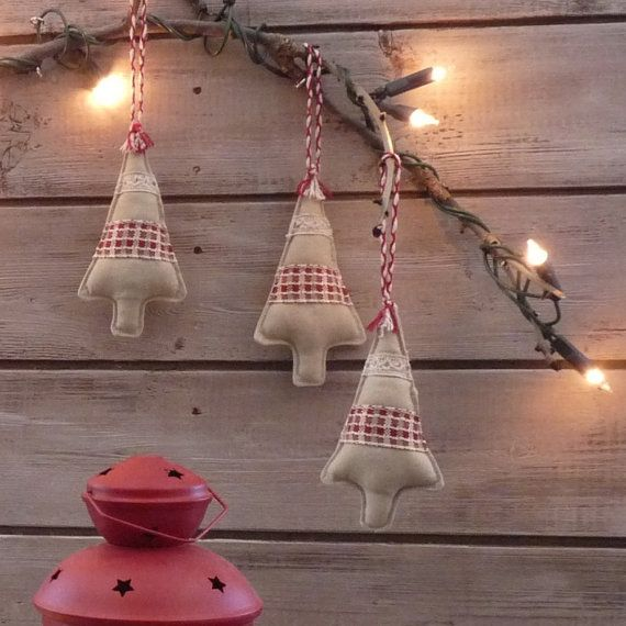 Christmas ornament three linen and red tree by Raggleberry on Etsy