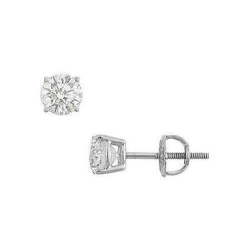 b022e2573 14K White Gold : Round Cubic Zirconia Stud Earrings 1.00 CT. TGW ...