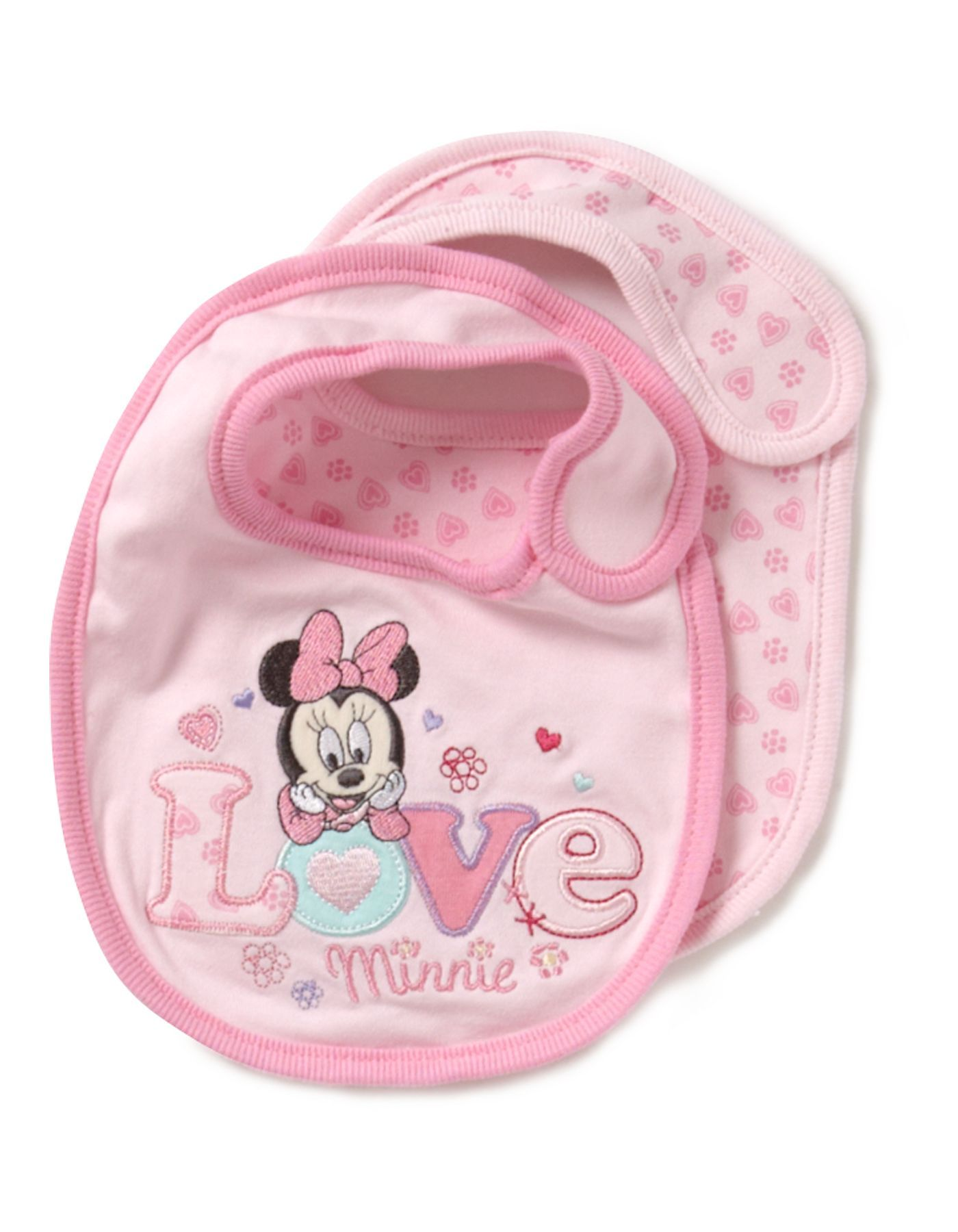 8c25c673b30 2 Pack Minnie Mouse Baby Bibs