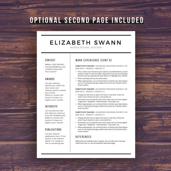 Professional And Modern Resume Template For Teachers Swann Filled