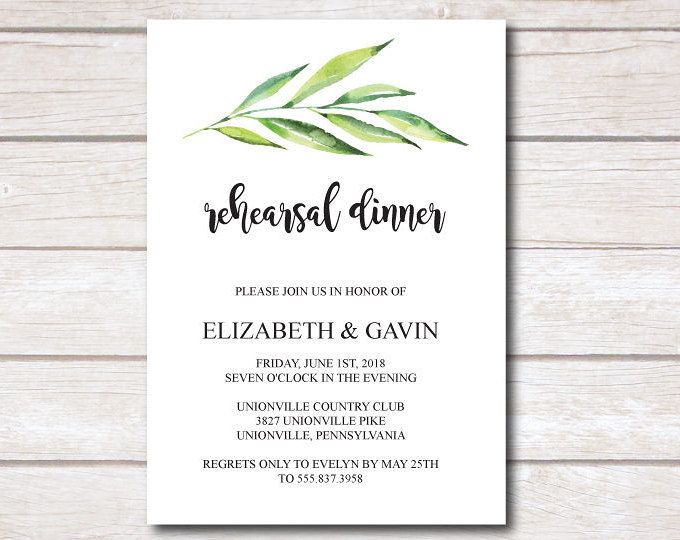 Superb Wedding Rehearsal Dinner Invitation Card Template, Printable Greenery  Rehearsal Dinner Card, EDITABLE Text, In Dinner Card Template