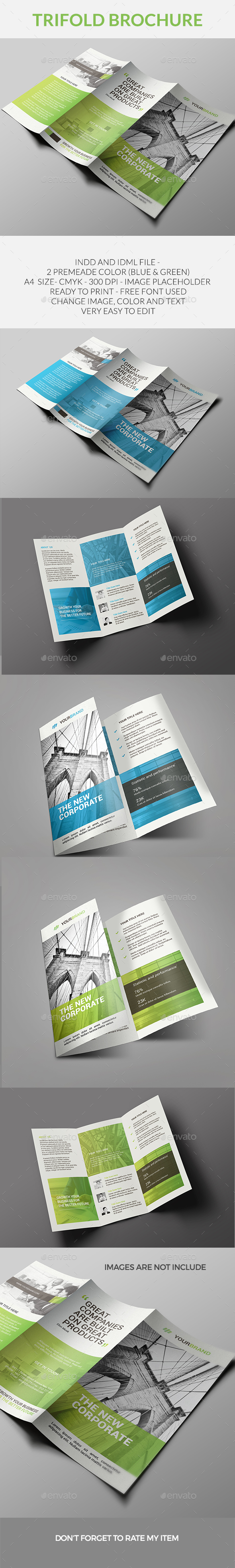 Corporate Trifold Brochure Template InDesign INDD #design Download ...