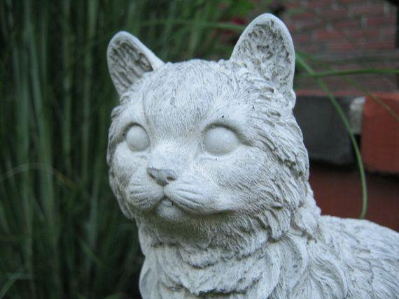 Cat Statue Concrete Cat Figure Cement Garden Decor Statues Of Cats Cat  Memorial Headstone Pet Memorials Garden Cat Concrete Garden Statues