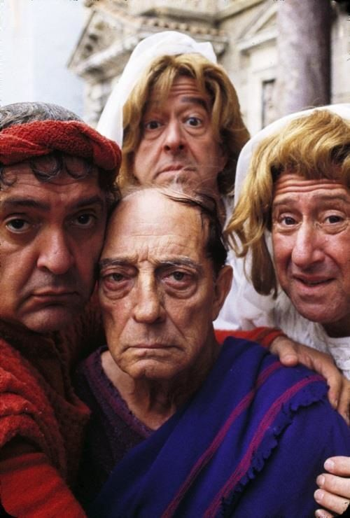 A Funny Thing Happened on the Way to the Forum.   Zero Mostel, Phil Silvers, Buster Keaton, and Jack Gilford
