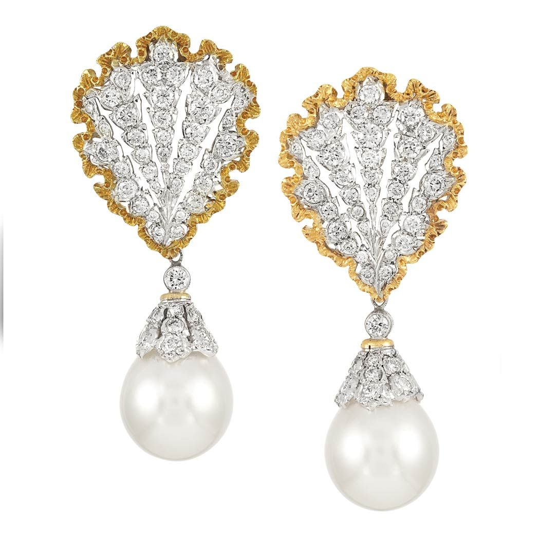Pair of Two-Color Gold, Diamond and Cultured Pearl Pendant-Earrings, Mario Buccellati